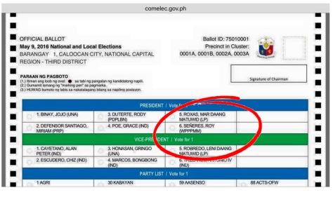 Photo of official ballot (Internet capture)