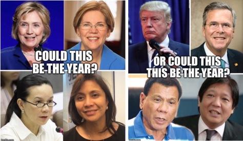Top, L-R: Clinton, Warren, Trump, Bush; Bottom, L-R: Poe, Robredo, Duterte, Marcos