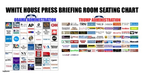 Trump White House Releases New Press Briefing Room Seating Chart